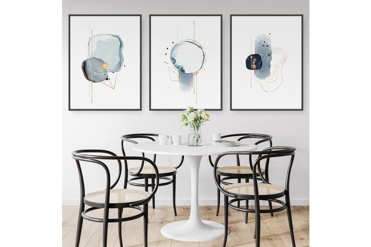 Set of Abstract Shape Minimal Blue Modern Wall Art