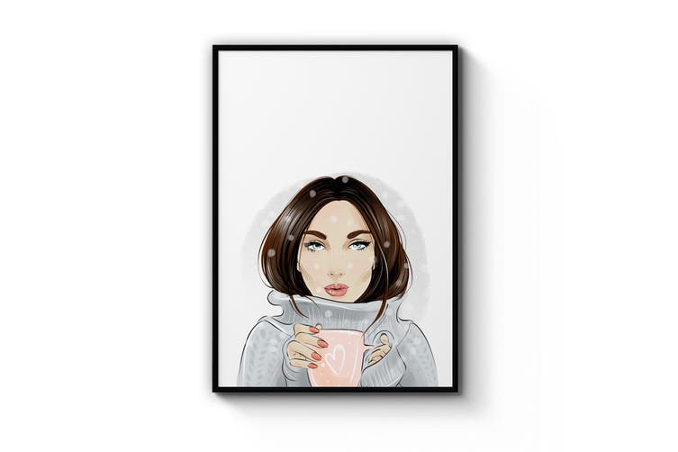 Cute Girl Minimal Fashion Bedroom Wall Art