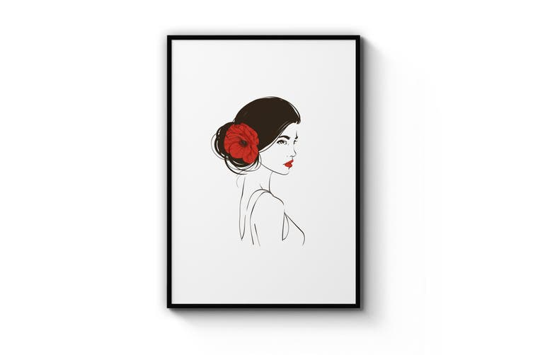 Cute Girl with Flowers Wall Art