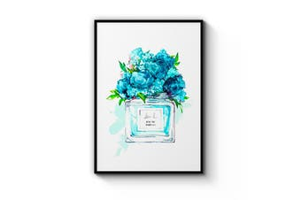 Teal Floral Perfume Bottle Wall Art