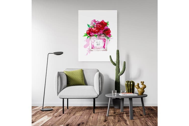 Red Floral Perfume Bottle Wall Art