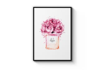 Pink Floral Perfume Bottle Wall Art