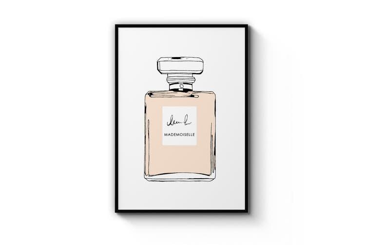 Peach Minimal Perfume Bottle Wall Art