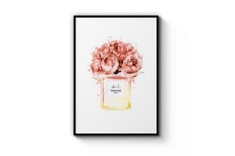 Peach Floral Perfume Bottle Wall Art
