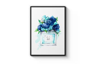 Blue Floral Perfume Bottle Wall Art
