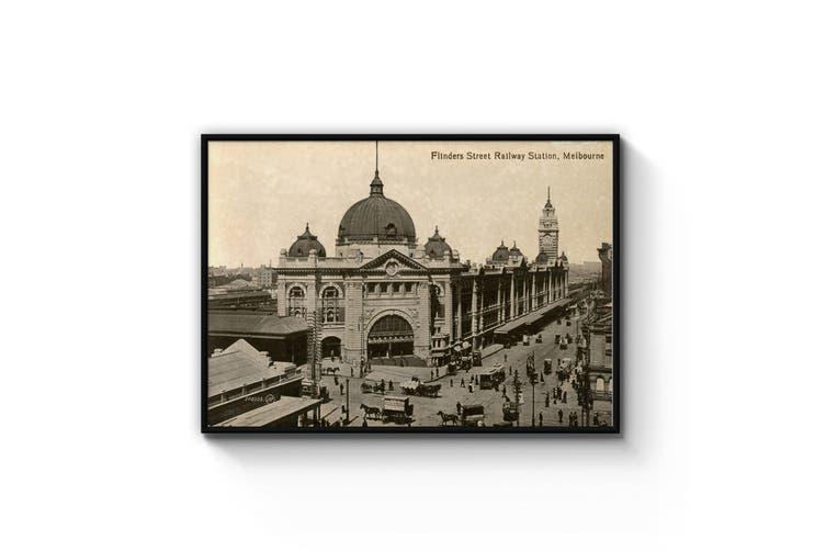 Flinders St Station, Melbourne - Vintage Photograph Wall Art