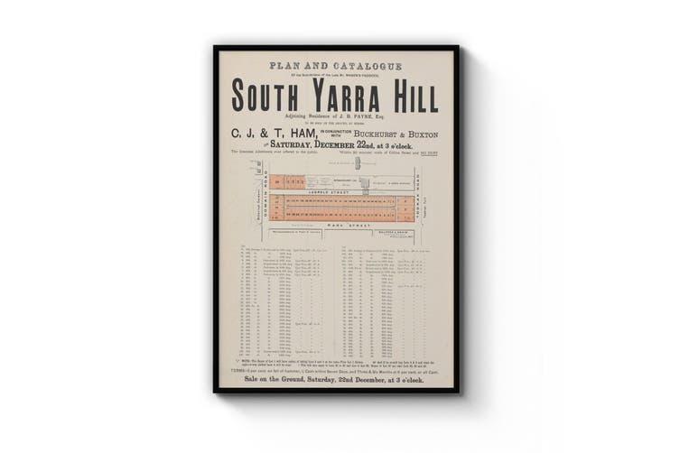 "Domain Road ""South Yarra Hill"" - Vintage Real Estate Advert Wall Art"