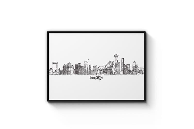 Seattle USA Cityscape Drawing Minimal Wall Art