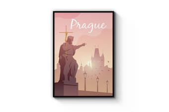 Retro Prague Czech Vintage Travel Europe Wall Art