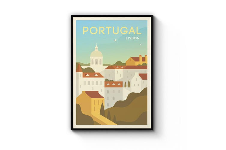 Retro Lisbon Portugal Wall Art