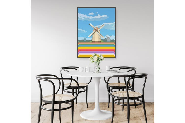 Retro Windmill, Netherlands Wall Art