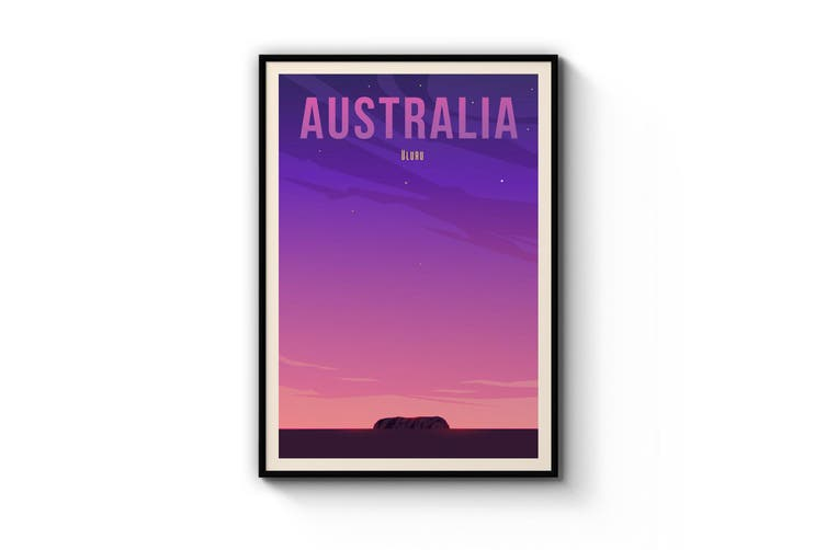 Retro Uluru, Australia Wall Art