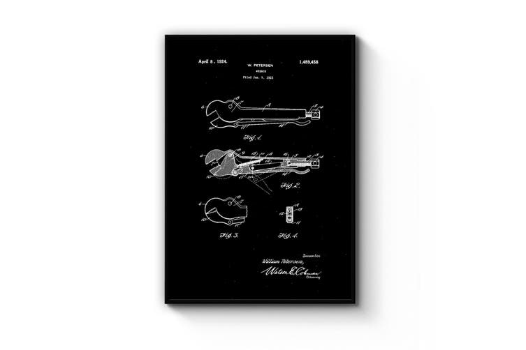 Wrench Tool Patent Wall Art