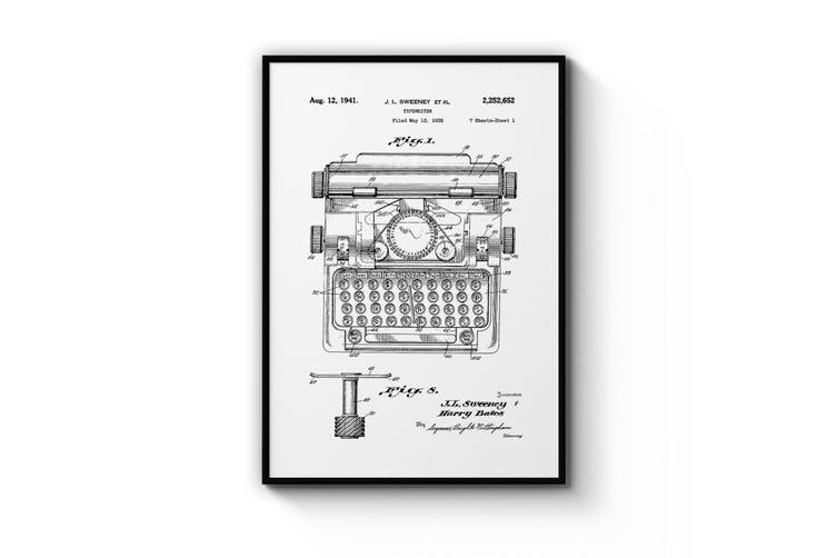 Vintage Typewriter White Patent Wall Art