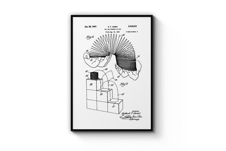 Vintage Slinky Toy Patent Wall Art