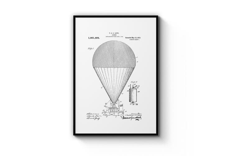 Hot Air Balloon Patent Wall Art