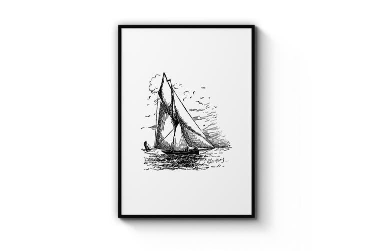 Sail Boat Drawing Wall Art