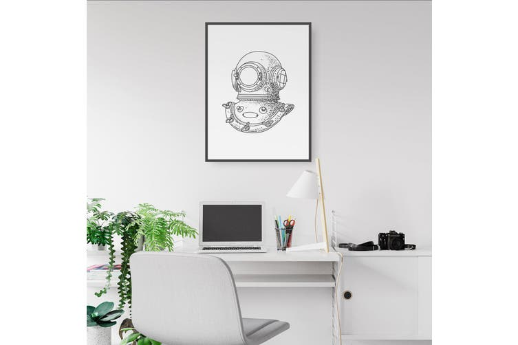 Diving Helmet Drawing Wall Art