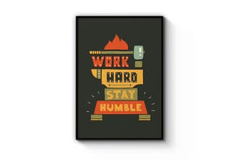 """Work Hard Stay Humble"" Quote Wall Art"