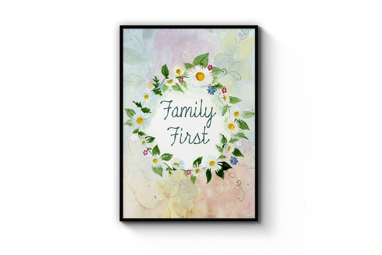 Family First Kitchen Green Wall Art