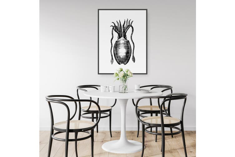 Squid Drawing Black and White Sealife Wall Art