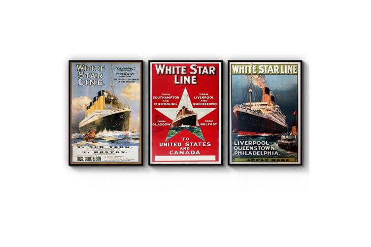 Set of Vintage White Star Line Advert Wall Art