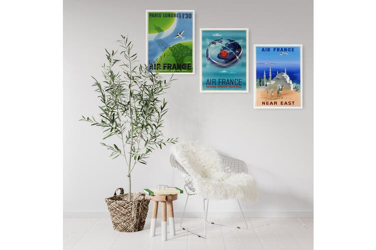 Set of Vintage Air France Travel Adverts Wall Art