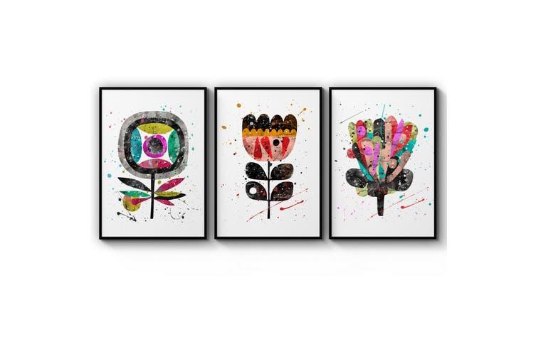 Set of Scandi Flower Minimal Colourful Wall Art