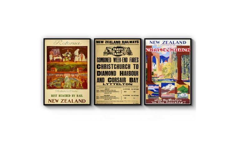 Set of New Zealand Vintage Travel Advert Wall Art