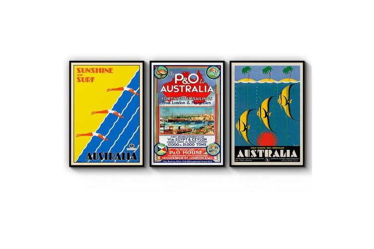 Set of Vintage Australian Travel Wall Art