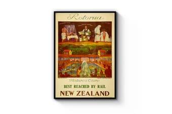 Rotorua New Zealand Vintage Travel Advert Wall Art