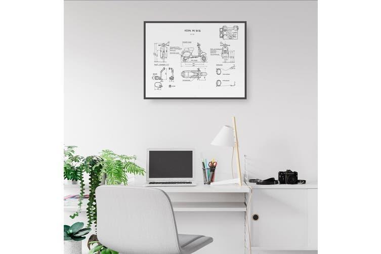 Vespa Patent - White Patent Wall Art