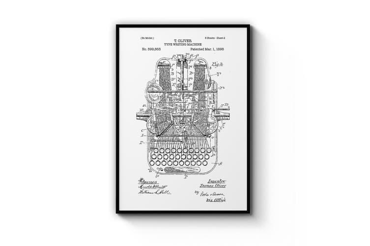 Typewriter - White Patent Wall Art