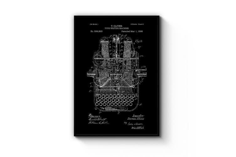 Typewriter - Black Patent Wall Art