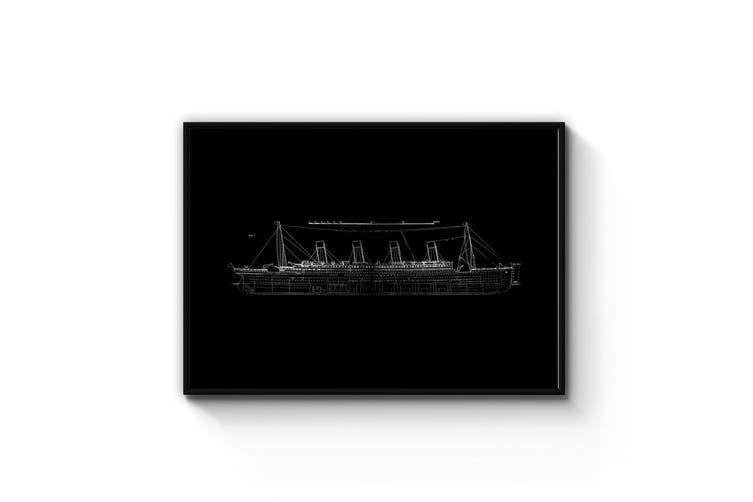 Titanic Plans - Black Wall Art