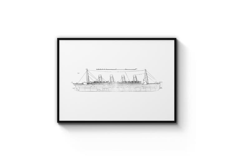 Titanic Plans - White Wall Art