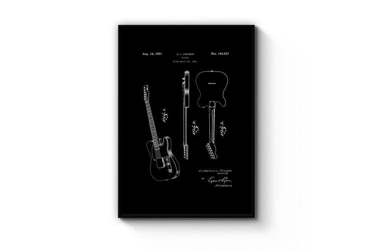 Vintage Telecaster Guitar Black Patent Wall Art