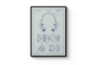 Headphones - Blue Patent Wall Art