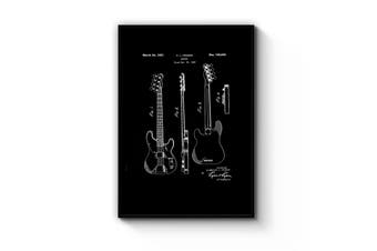 Fender Guitar - Black Patent Wall Art