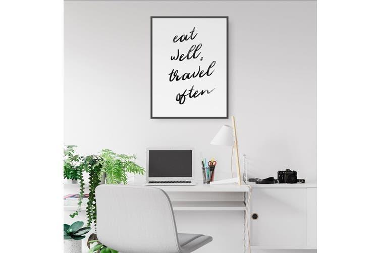 """""""Eat Well, Travel Often"""" Bedroom Quote Wall Art"""