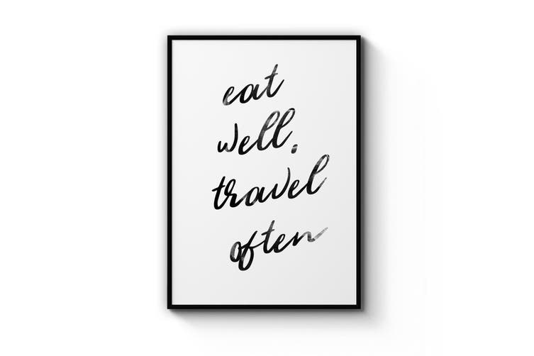 """Eat Well, Travel Often"" Quote Wall Art"
