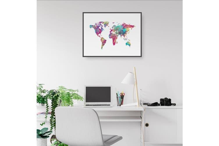 Watercolour World Map Wall Art