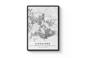 Singapore Minimal Map Wall Art