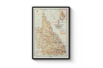 Queensland Vintage Map Wall Art