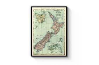 New Zealand Vintage Map Wall Art