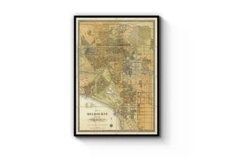 Melbourne Vintage Map Wall Art