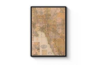 Melbourne Victoria Vintage Map Australia Wall Art