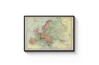 Europe, Vintage Map Wall Art