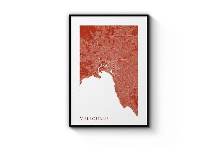 Minimal Melbourne Map (Red) Wall Art