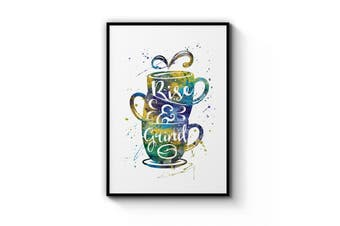 """Rise & Grind"" Coffee Wall Art"